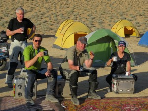 Enjoying tea in camp site in Karakum Desert, Turkmenistan