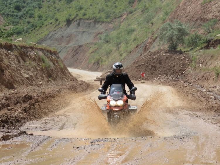 Water splashes on the Pamir Highway