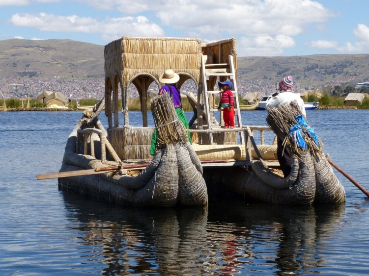 Taking a reed boat out of Lake Titicaca