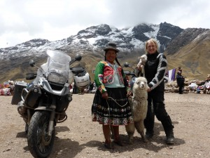 BMW R1200GS, Local Peru Woman and motorcyclist with lamb
