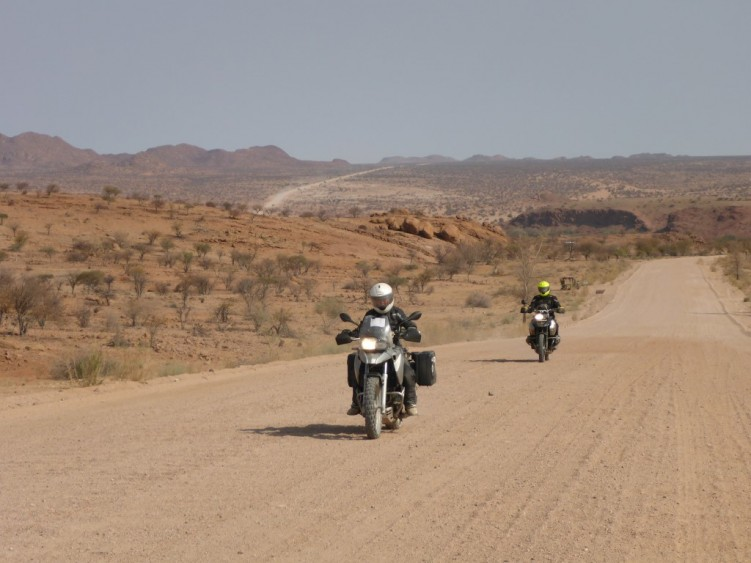 Typical gravel roads in Namibia