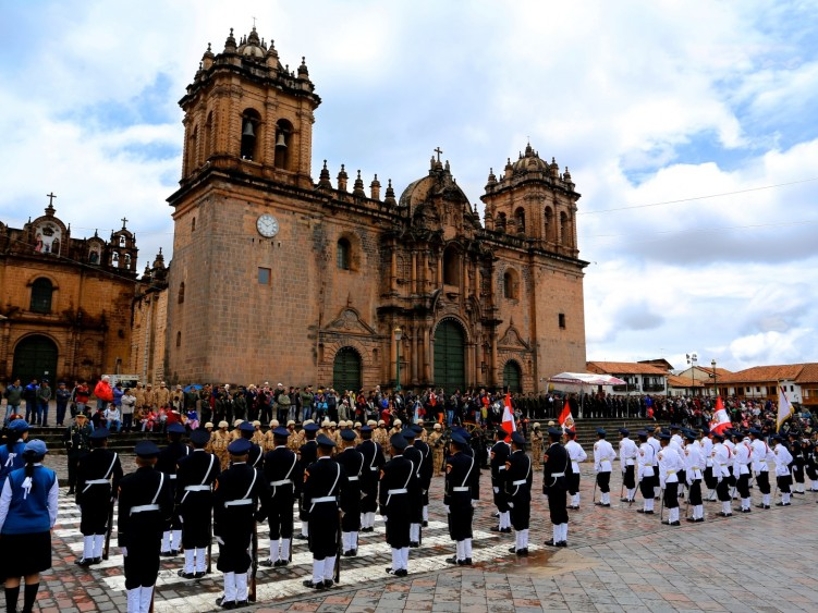 Parade in Cusco Plaza
