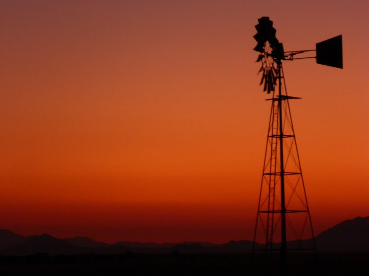 Sunset at a ranch in the Namib Desert