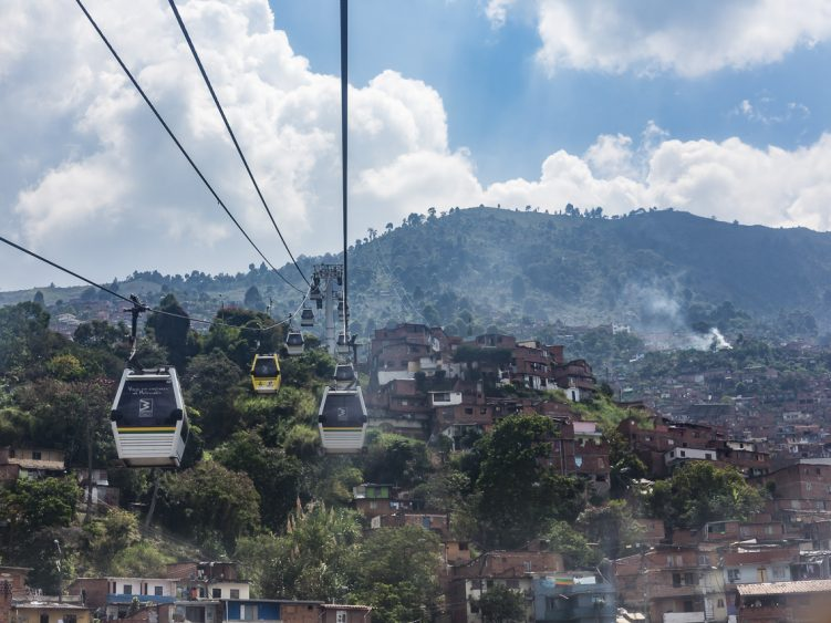 Taking the cable car over Medellin