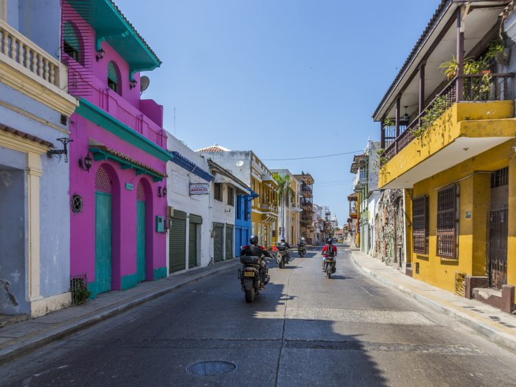 Stage 3 - Riding past colourful colonial buildings, Colombia