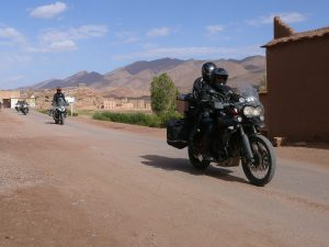 Group of motorcycles on country road in Morocco