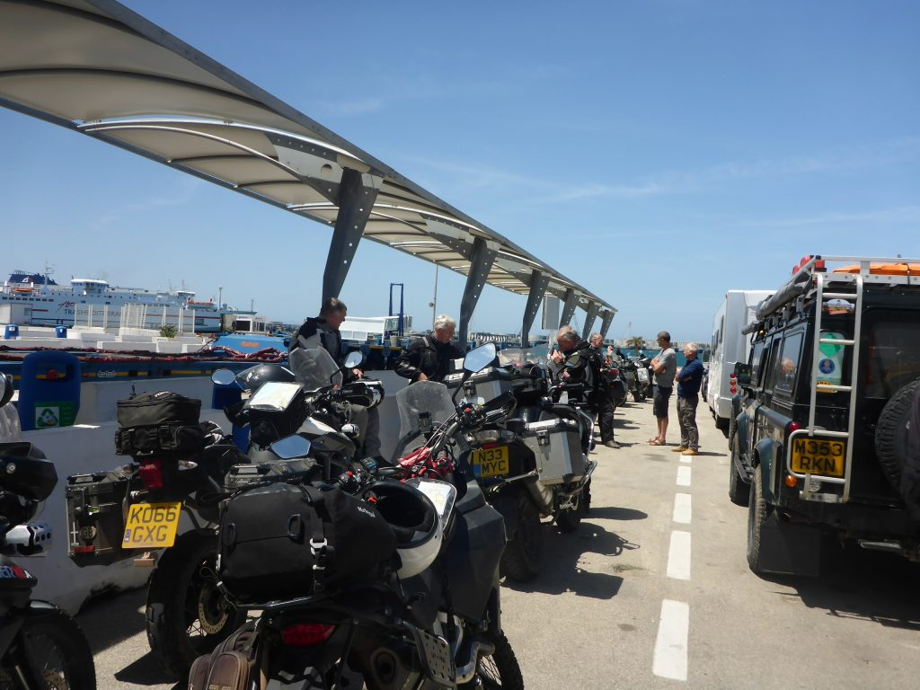 Motorcycle Tour Group waiting for the ferry at Algeciras Ferry Port